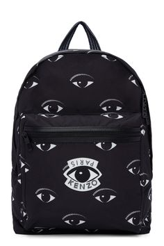 Kenzo Black Nylon Eye Backpack