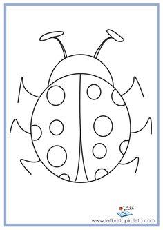 dibujos para imprimir y colorear, educación infantil y primaria, mariquita