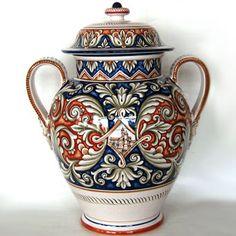 FIMA Italian Ceramic Jar - Baroque in Blue with Italian Village