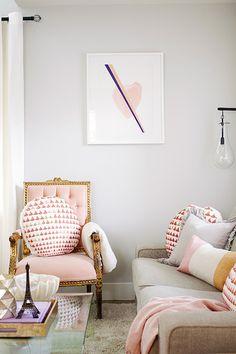 Jillian Harris - living rooms - Sherwin Williams - Passive - pink and gray living room, pink heart art, framed heart art, heart art print, m...