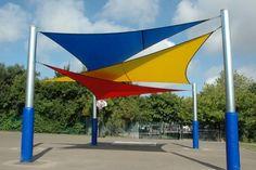 Overlapping triangular canopy  http://www.broxap.com/overlapping-triangular-shade-sail-canopy