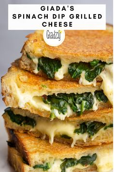 Giada's Spinach Dip Grilled Cheese – Giadzy – Grillen Giada Recipes, Lunch Recipes, Great Recipes, Vegetarian Recipes, Cooking Recipes, Favorite Recipes, Burger Recipes, Healthy Sandwich Recipes, Deli Sandwiches