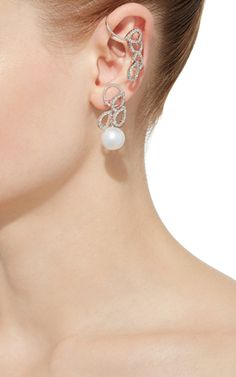 18K White Gold Cultured Pearl Diamond Ear Cuff by Yoko | Moda Operandi