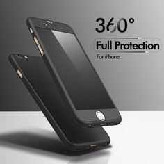 FLOVEME 360 Degrees Protective Case For iPhone 6 6S 7 Plus Tempered Glass PC Front Back Full Body All Coverage Shells For iPhone