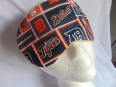 Adult unisex handmade sleep mask with a Detroit Tigers theme/ sleep aid/ eye care/ insomnia aid/ health & beauty/ eye wear art/holiday gift by JuLLuJ on Etsy