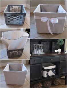 Handmade Home Decor Milk crates are great when it comes to home decor and organization. Let& sa. Diy Home Crafts, Easy Home Decor, Handmade Home Decor, Cheap Home Decor, Handmade Items, Diy Para A Casa, Diy Casa, Plastic Milk Crates, Plastic Baskets