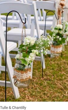 Burlap and lace wedding decor ideas rustic burlap lace wedding aisle ideas decor centerpieces without flowers Burlap Wedding Decorations, Wedding Centerpieces, Wedding Burlap, Rustic Centerpieces, Wedding Rustic, Wedding Ideas With Burlap, Mason Jar Wedding Favors, Wedding Vintage, Centerpiece Ideas