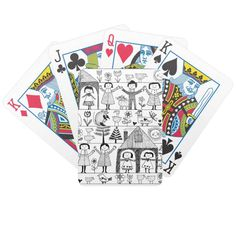 Shop Kid's Folk Art Drawing of Children and Animals Bicycle Playing Cards created by FaerieRita. Bicycle Playing Cards, King Of Hearts, Animal Skulls, Types Of Art, Box Design, Animals For Kids, Line Drawing, Card Sizes, Vintage Art