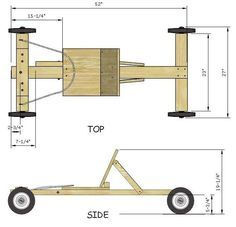 Easy Soap Box Derby Car Build: 7 Steps - Go kart plans - Stofftiere Soap Box Derby Cars, Soap Box Cars, Soap Boxes, Diy Soap Box Car, Wooden Go Kart, Woodworking Plans, Woodworking Projects, Wooden Scooter, Wood Toys