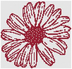 One Color Daisy a Counted Cross Stitch by WooHooCrossStitch Bead Loom Patterns, Easy Crochet Patterns, Embroidery Patterns, Cross Stitch Patterns, Cat Cross Stitches, Cross Stitching, Cross Stitch Embroidery, Hardanger Embroidery, Rug Hooking Designs