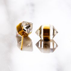 quartz point stud earrings