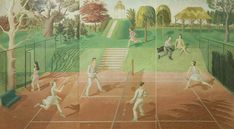Tennis (triptych) by Eric Ravilious 1930 Tempera on Plywood (Bristol Museum & Art Gallery)