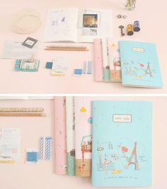 cute notebooks paris pastel eiffel tower
