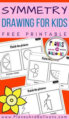 Symmetry drawing for kids in preschool and kindergarten - free printable fine motor skills worksheets. Kindergarten Drawing, Kindergarten Freebies, Kindergarten Activities, Preschool Learning, Toddler Activities, Learning Activities, Printable Puzzles For Kids, Worksheets For Kids, Free Printables