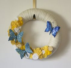 Butterfly Wreath Blue and Yellow Yarn and by TheBakersDaughter, $45.00
