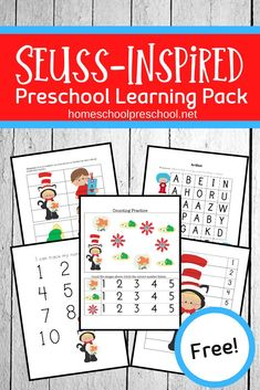 Little ones will love sitting down to learn with this Dr Seuss printable! This free preschool printable includes 17 pages of Dr. Dr Seuss Activities, Early Learning Activities, Preschool Learning, Fun Learning, Preschool At Home, Free Preschool, Dr Seuss Week, Printable Preschool Worksheets, Kindergarten Curriculum