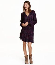 Mönstrad klänning | Mörkblå/Stjärnor | Dam | H&M FI