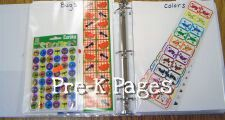 Using a binder to organize your stickers will save you oodles of time. You will need a three ring binder, clear page protectors, a pen or marker, and cardstock. Place a sheet of cardstock in each page protector; on each piece of cardstock write the name of the sticker type (stars, smileys, sports etc). The cardstock will help your pages stand up instead of flopping over and spilling the stickers out. When you need a particular sticker just pick up the binder and turn to the correct page, no…