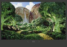 A fák brokkoli, törpeborsó, és fokhagyma.  A hegyek kenyérböl, a fellegek karfio