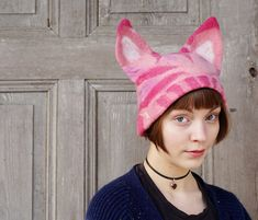 Pink Pussyhat feminist pink hat Pussy cat hat with by filcAlki