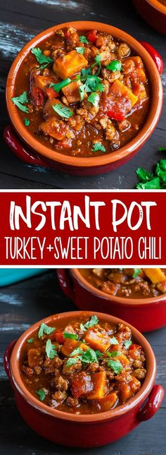 This easy smoky chipotle turkey and sweet potato chili recipe has both pressure cooker and stove top instructions! Grab a pot, dutch oven, or Instant Pot, and whip up this delicious dinner in no time at all! Whole30 and Paleo friendly. #chili #sweetpotato #turkey #turkeychili #glutenfree #paleo #whole30 #spicy #chipotle #healthyrecipes #easyrecipes #instantpot #pressurecooker Turkey Sweet Potato Chili, Turkey Chilli, Paleo Sweet Potato, Pressure Cooker Turkey, Instant Pot Pressure Cooker, Best Instant Pot Recipe, Instant Pot Dinner Recipes, Instant Recipes, Chilli Recipes