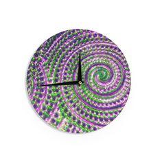 "Sylvia Cook ""Color Inspiration"" Green Purple Wall Clock"