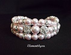 Bridal Shower. White, Blush, and Pink. Bridal cuff bracelet Swarovski light pink pearls by Element4you, $46.00