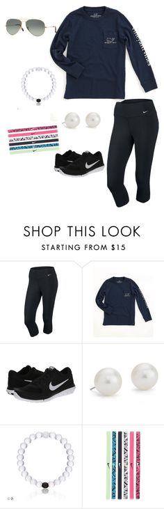 """OOTD :)))"" by madelineholdren on Polyvore featuring beauty, NIKE, Vineyard Vines, Blue Nile and Ray-Ban"