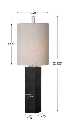 Delaney Buffet Lamp | Uttermost Marble Columns, Forest View, Buffet Lamps, Black Marble, Light Beige, Polished Nickel, Linen Fabric, Plating, Table Lamp