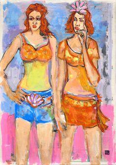 "Saatchi Online Artist: Borai & Kahne Ateliers; Mixed Media, 2012, Painting ""Two Girls Sisters"" Single Sheets, Selling Art Online, Saatchi Art, Original Artwork, Princess Zelda, Sculpture, Spaces, Drawings, Illustration"