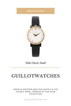 Made in Switzerland this watch is the Classic Small version of the Slide collection.The is the pink gold case version of the Slide Classic Small collection with a white dial, black lugs and a black strap. Pink And Gold, Rose Gold, Clock, Steel, Watches, Create, Classic, Watch, Derby