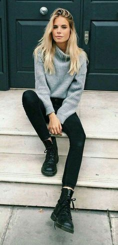 26 trajes casuales de otoo para mujer 2019 moda y estilo this is one of the cutest sweater outfits frauen mode cutest frauen mode outfits sweater Fall Outfits 2018, Winter Outfits For School, Casual Fall Outfits, Mode Outfits, Fall Winter Outfits, Casual Fridays, Casual Chic, Fashion Outfits, Dress Winter