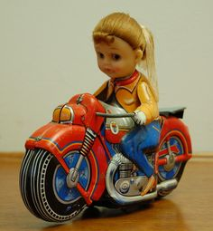Haji Motorcycle Girl Tin Toy Japan 1960's