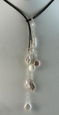 Kailey Lariat - Blue Lotus Jewelry. End pieces are wire wrapped with end loop to fit thru end beads.