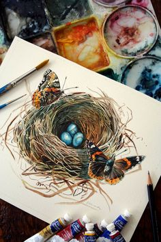 Butterfly Bird Nest - The Visitors - ORIGINAL Watercolor