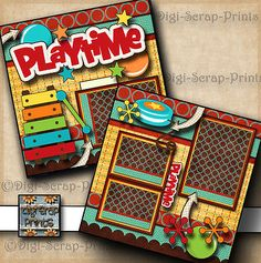PLAYTIME ~ boy or girl ~ 2 premade scrapbook pages paper piecing ~ by digiscrap