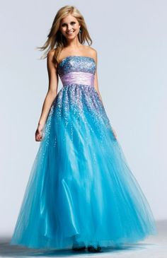Put a veil with any gown & it becomes a wedding dress :) Faviana Sequin Tulle Ball Gown Prom Dress 6744