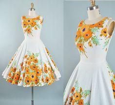 Vintage 50s Dress / 1950s Cotton Pique Sundress by GeronimoVintage