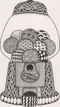 Zentangle image of a bubble gum machine http://agarderen.blogspot.ca/search/label/ornation creation