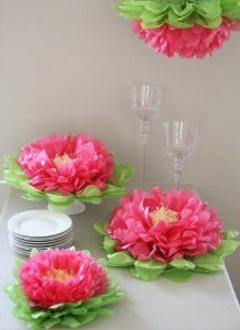 Dinner plate sized paper peonies for party decorations. Pink and green tissue paper (KB).