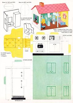 Doll House Punch-out 1973 vintage paper doll house by KokorobyIsa