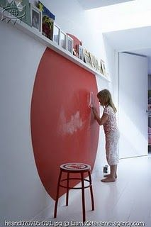 Round wall chalkboard. Color!! ~ Great way to allow your kids to draw on the walls without the stress.