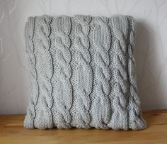 Sweater pillow Grey pillow cover hand knitted cushion home decor decorative pillow cable knit