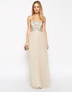 Needle & Thread Embellished Crystal Petal Maxi Dress
