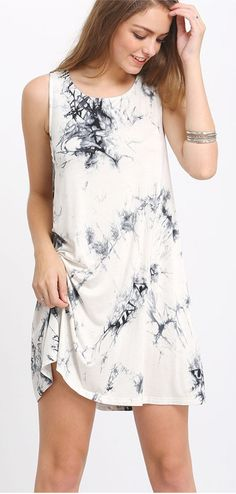 This Sleeveless Ink Print Smoke Dress is so lovely! Only $12.99. Get one for your summer break.