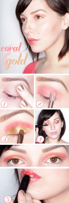How to apply Coral and Gold shadows. You'll want to start singing like a disney princess into a fan.