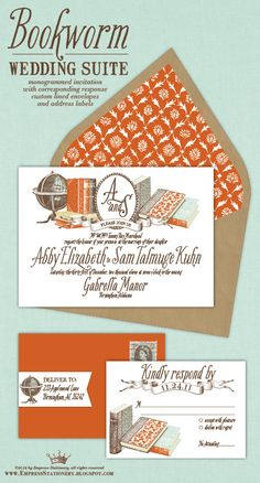 Bookworm Suite wedding invites from Empress Stationery