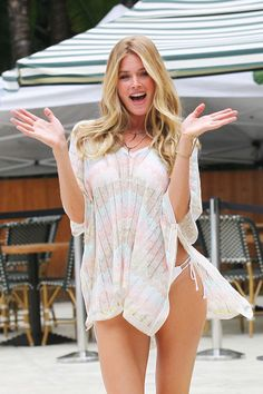 Victoria's Secret models and Doutzen Kroes poses during a photo shoot for Victoria Secret in Miami Beach