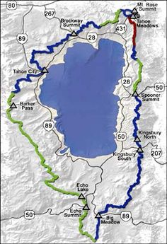 Tahoe Rim Trail passes through two states (California and Nevada), six counties, one state park, three National Forests, and three Wilderness areas. This spectacular trail is 165 miles of single-track multiuse trail, winding peak to peak around Lake Tahoe.