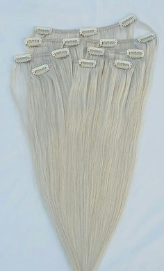 """18"""" 100% human hair extensions, clip in, 7pcs 14 clips $59.99 www.hairfauxyou.com"""
